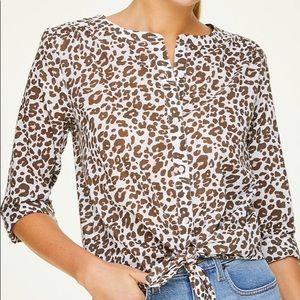 NEW Ann Taylor LOFT Leopard Print Blouse Large